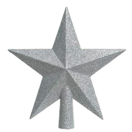 Decoris Sølv Glitter Topstjerne