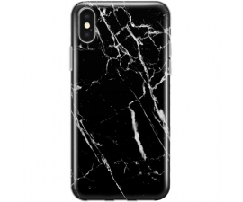 BasicPlus iPhone X/Xs Cover - Sort Marmor