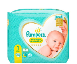 Pampers Premium Protection Str. 1 (2-5 kg) - 26 stk