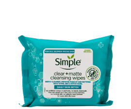 Simple Daily Skin Detox Clear + Matte Cleansing Wipes - 25 stk